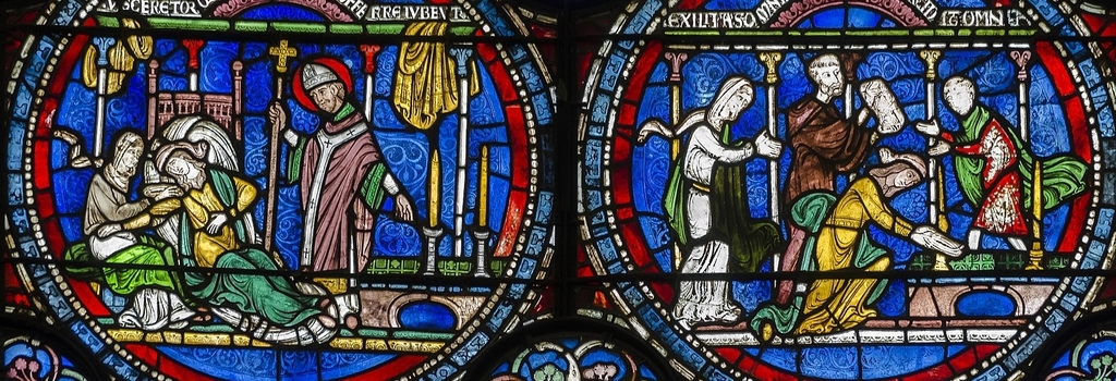 Stained glass window from Canterbury Cathedral depicting the cure of woman through prayer to St Thomas a Becket