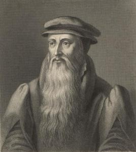 Portrait of John Knox. He wears a cap, modest clothing, and has a long white beard.