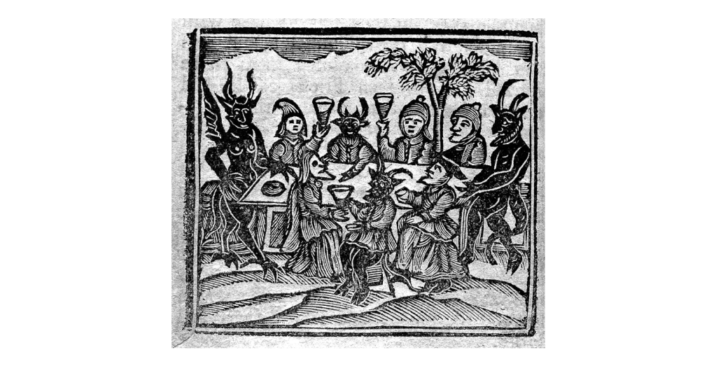 Woodcut image. Devils with horns, wings and hooves gather around a table and share drinks with men and women.