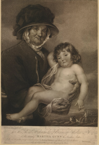 Drawing of Martha Gunn. A lady in a black bonnet holds a naked, cherub-like child.
