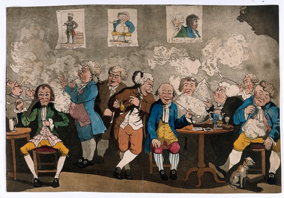 Colourful cartoon of the inside of a club or tavern. A group of men smoke and drink. A Toby Jug can be seen on the table. John Bull images can be seen on the wall in the background.