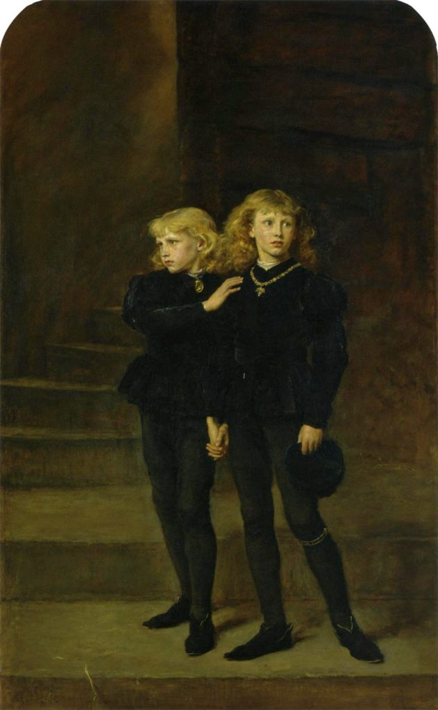 Later re-imagining of the two princes held prisoner in the tower. Two young boys with long, golden hair and blue eyes wear dark clothes and hold hands. They look nervously around them- but with resolution.