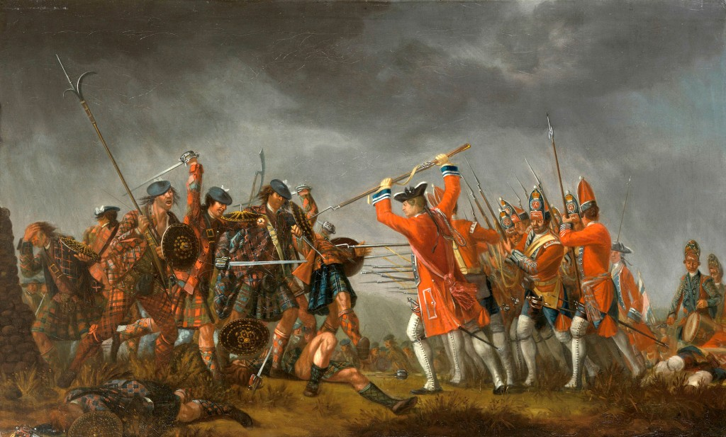 Battle scene: The Battle of Culloden. Two armies meet on a stormy battlefield. On the left, tartan-clad highlanders weld swords. On the right, the British Army wears red coats and are armed with bayonets. Several have fallen on both sides, but it is a state soldier that takes centre-stage and is caught in the act of striking a Jacobite rebel.